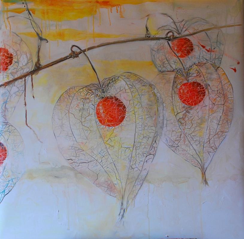 Martina Dalla Stella - Alchechengi (ovvero la bellezza delle piccole cose), olio su tela, 90x90 cm, 2016