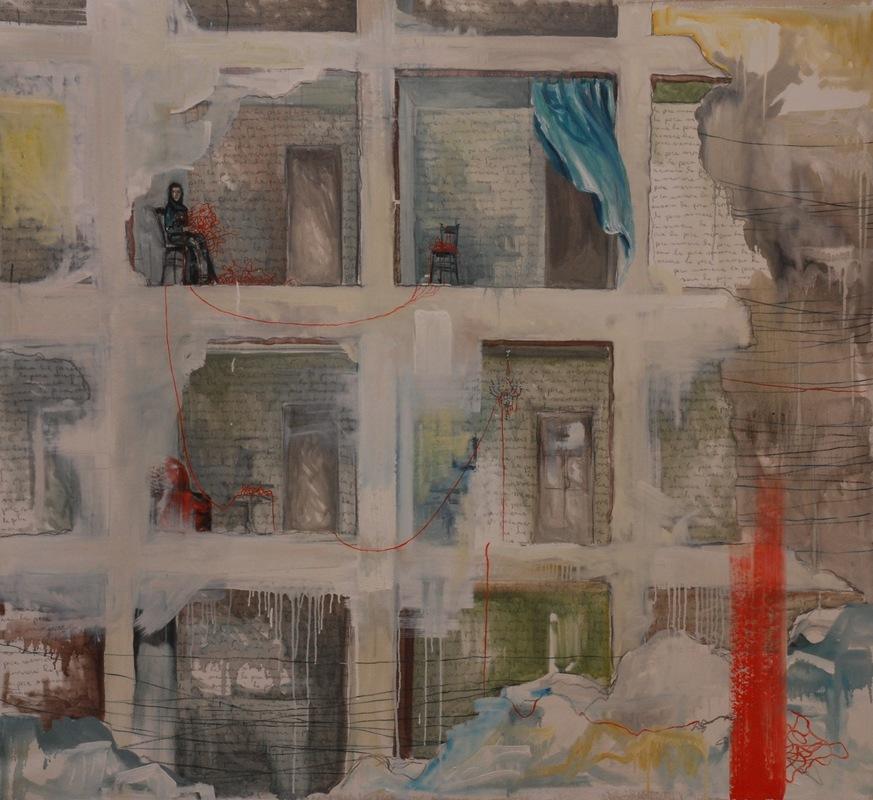 Martina Dalla Stella - La poca memoria, olio su tela, 150x150 cm, 2016