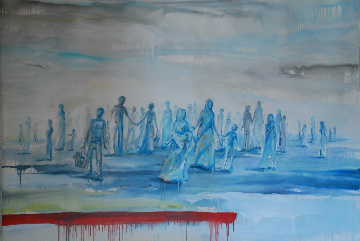 Martina Dalla Stella - La rotta dei Balcani/2, olio su tela, 130x185 cm, 2016