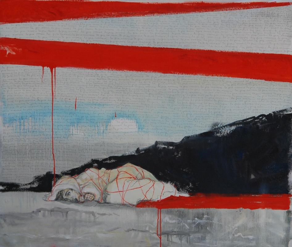 Martina Dalla Stella - La poca memoria n.4, olio su tela, 150x150 cm, 2017