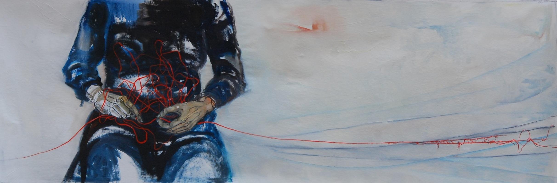 Martina Dalla Stella - La poca memoria/3, olio su tela, 80x170 cm, 2017