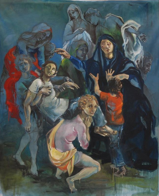 Martina Dalla Stella - Ancora (variazione contemporanea sulla Deposizione del Pontormo), olio su tela, 200x170 cm, 2018