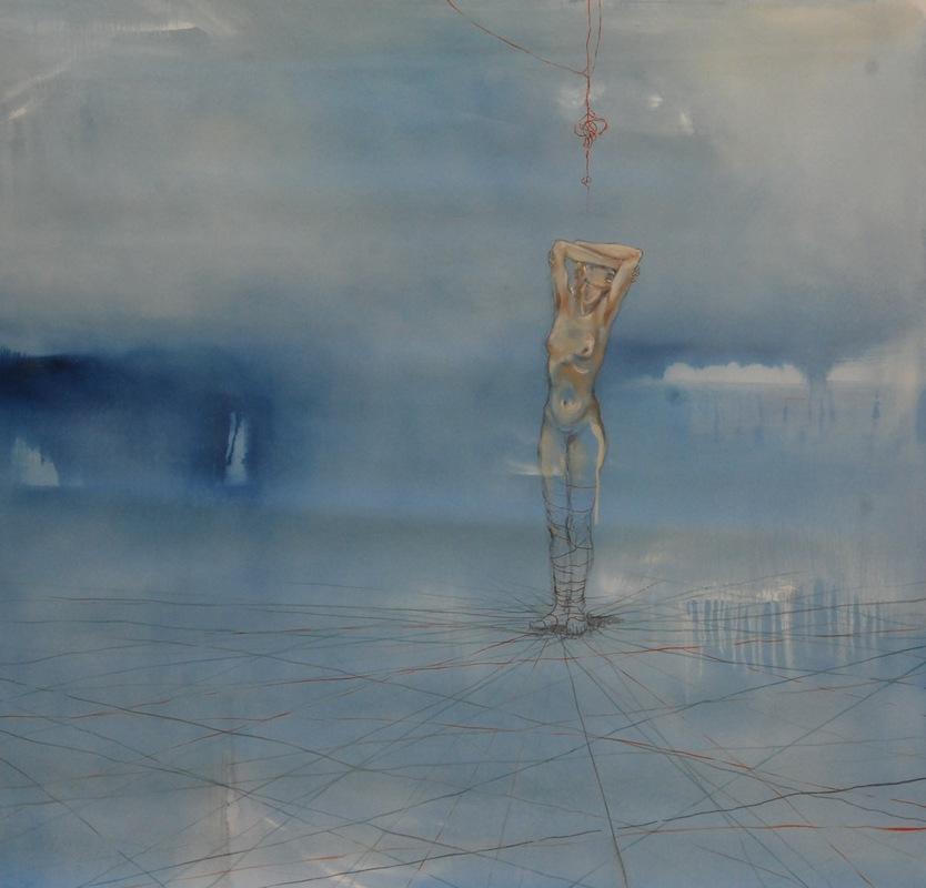 Martina Dalla Stella - Limiti n.5, olio su tela, 130x130 cm, 2018