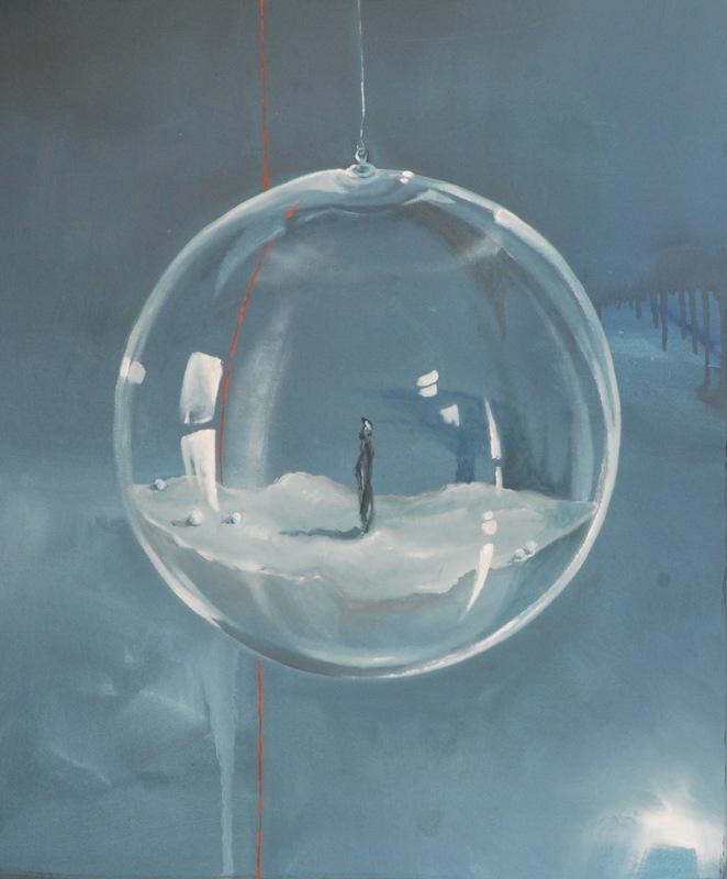 Martina Dalla Stella - In sospeso, olio su tela, 50x30 cm, 2018