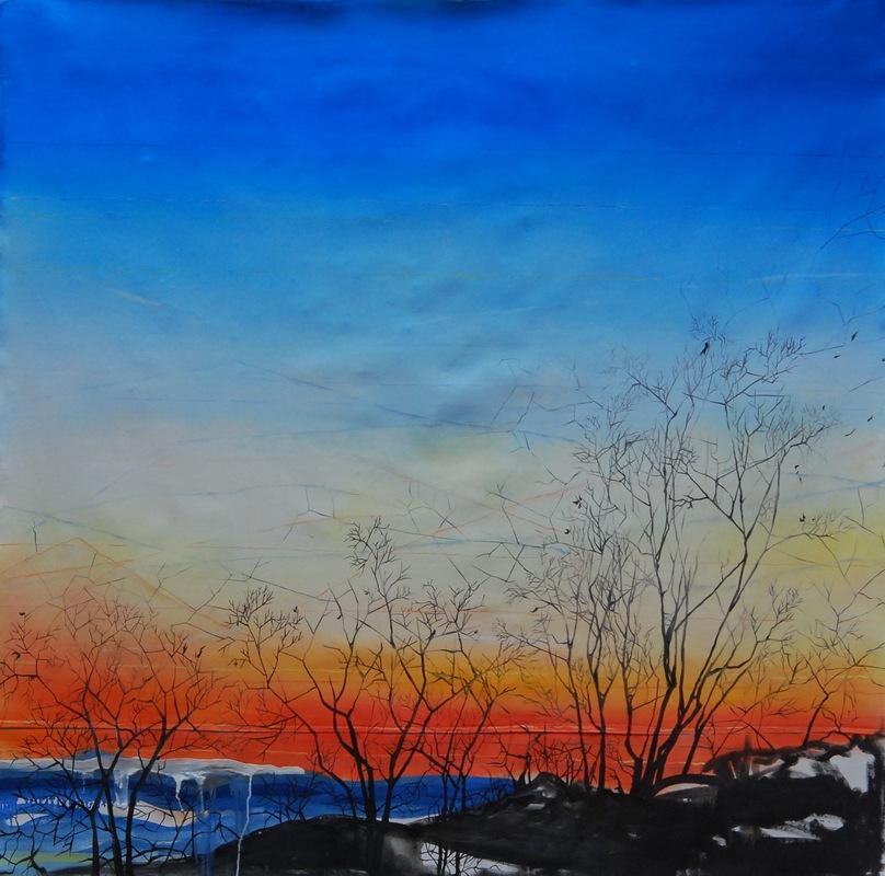Martina Dalla Stella - Effimero, olio su tela, 150x150 cm, 2017