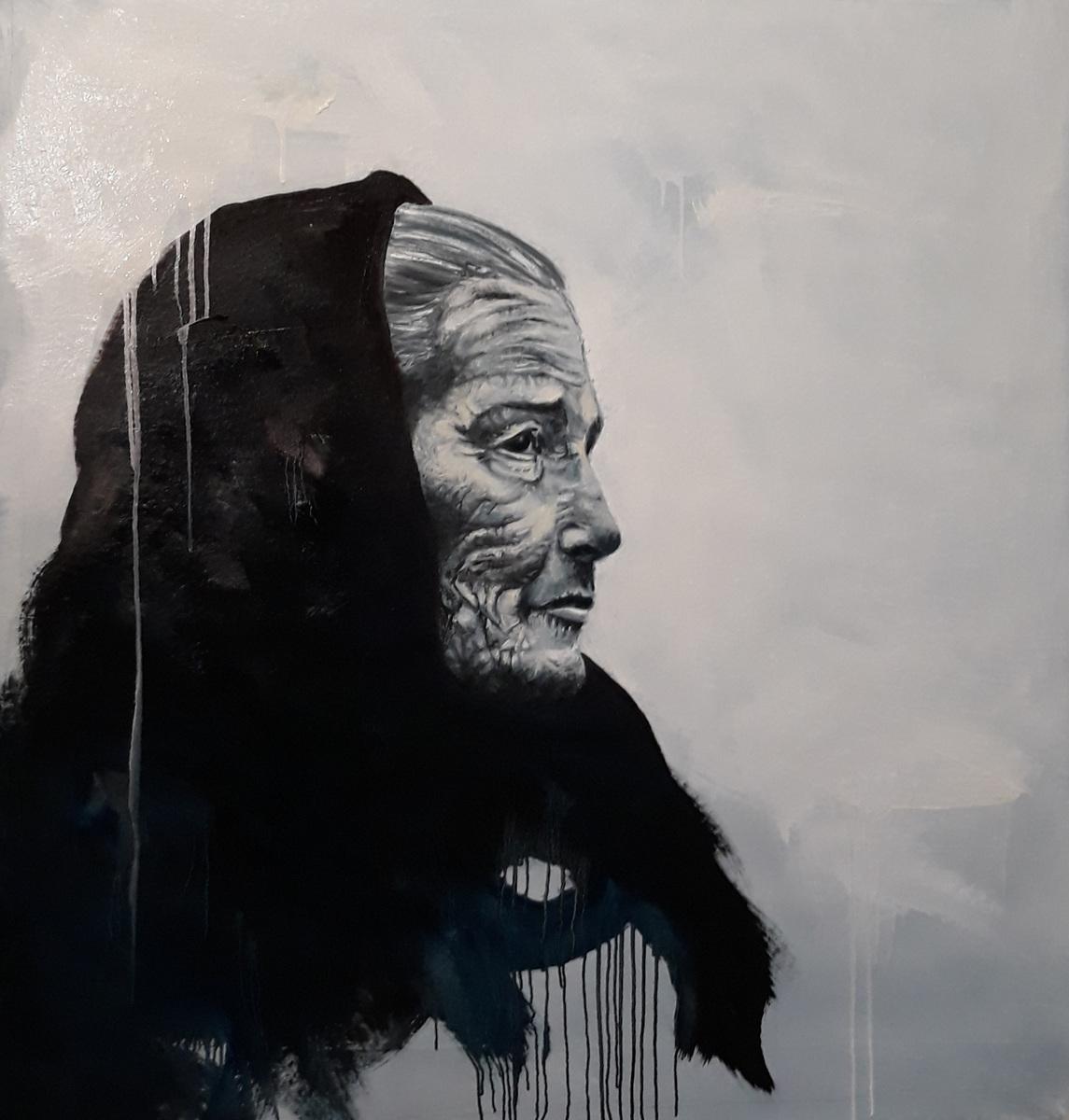 Martina Dalla Stella - Trame (omaggio a Exodus di S.Salgado), olio su tela, 115x110 cm, 2019