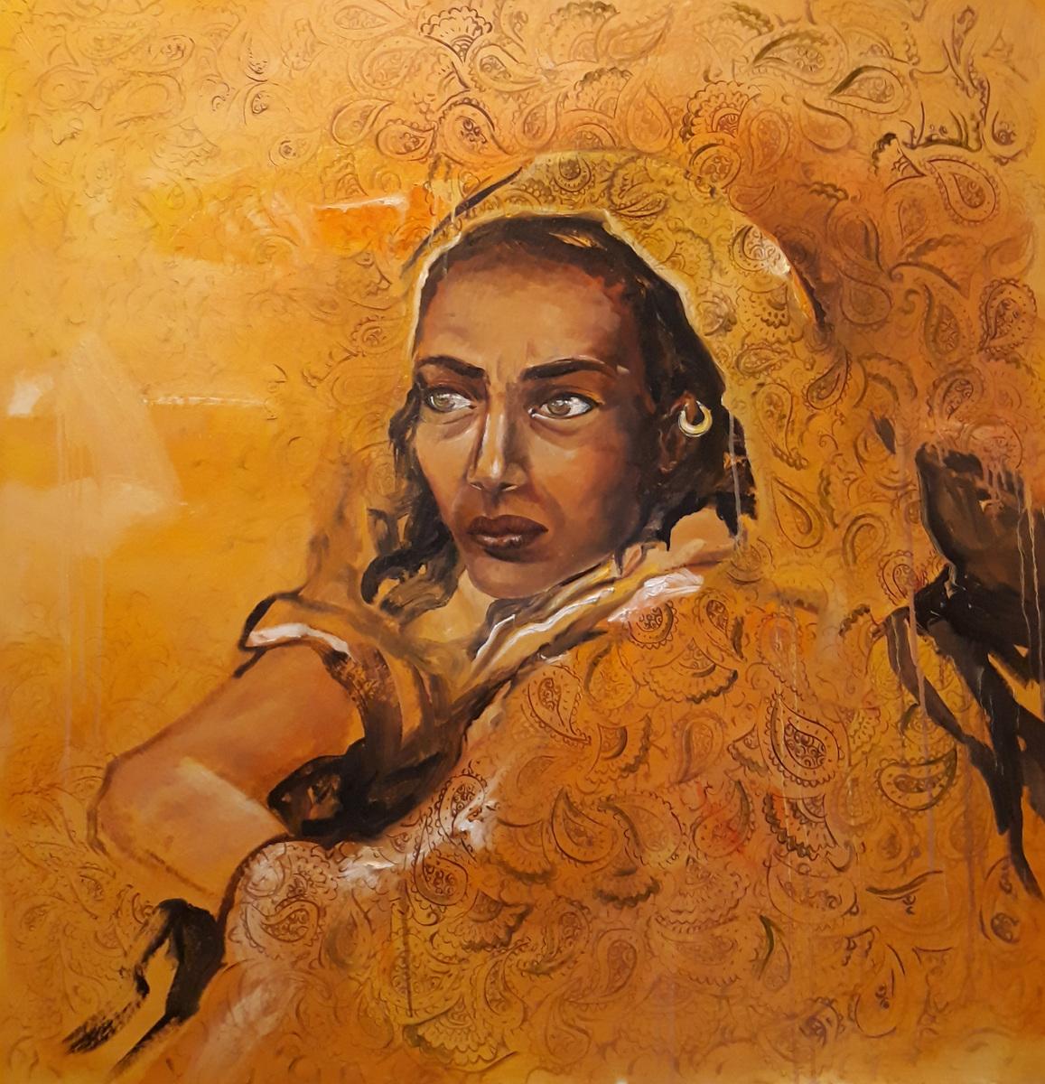 Martina Dalla Stella - Trame, olio su tela, 120x120 cm, 2019