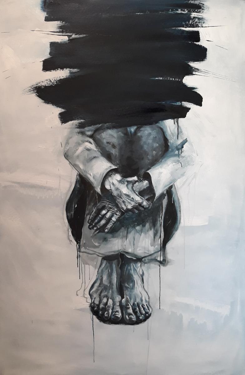 Martina Dalla Stella - Lumano viaggio, olio su tela, 170x110 cm, 2019