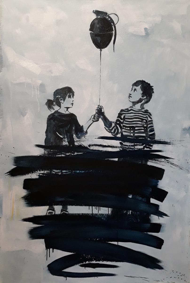 Martina Dalla Stella - Vietato dimenticare(dedicato al War Childhood Museum di Sarajevo), olio su tela, 180x120 cm, 2019