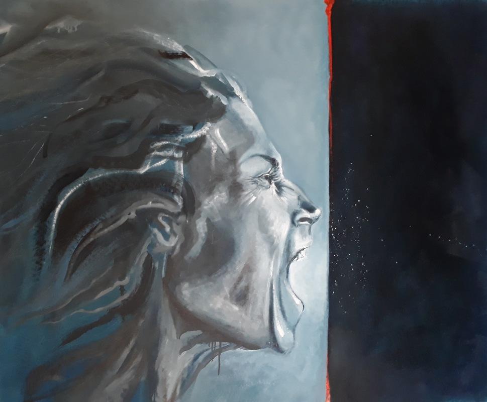 Martina Dalla Stella - Stay human, olio su tela, 102x120 cm, 2019