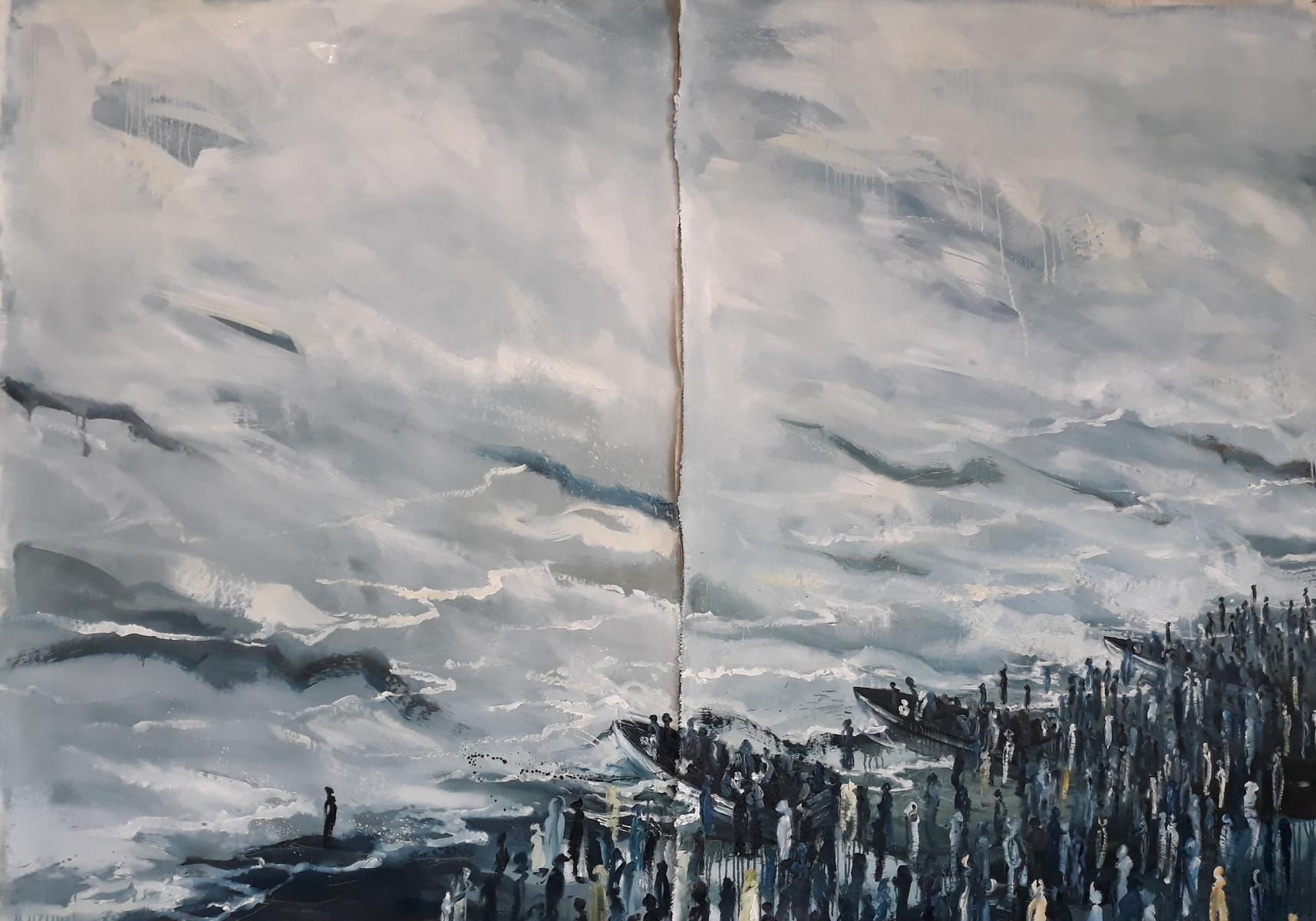 Martina Dalla Stella - Lumano viaggio olio su tela, 170x120 cm, 2019