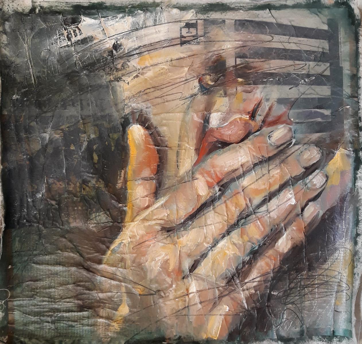 Martina Dalla Stella - Frammenti, olio su carta di giornale su tela, 43x54 cm, 2020