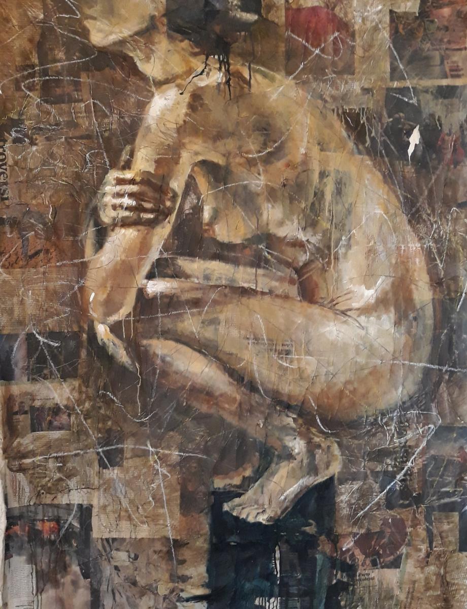Martina Dalla Stella - In sospeso, olio su carta di giornale su tela, 130x98 cm, 2020