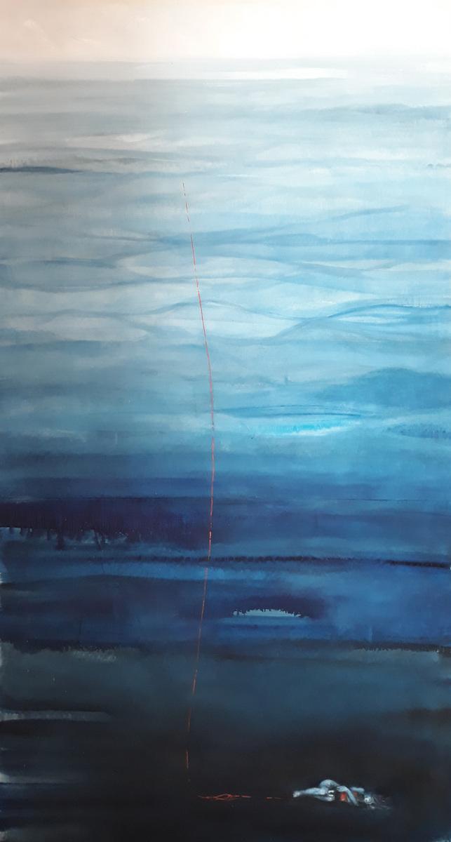 Martina Dalla Stella - Abbraccio olio su tela, 230x170 cm, 2019