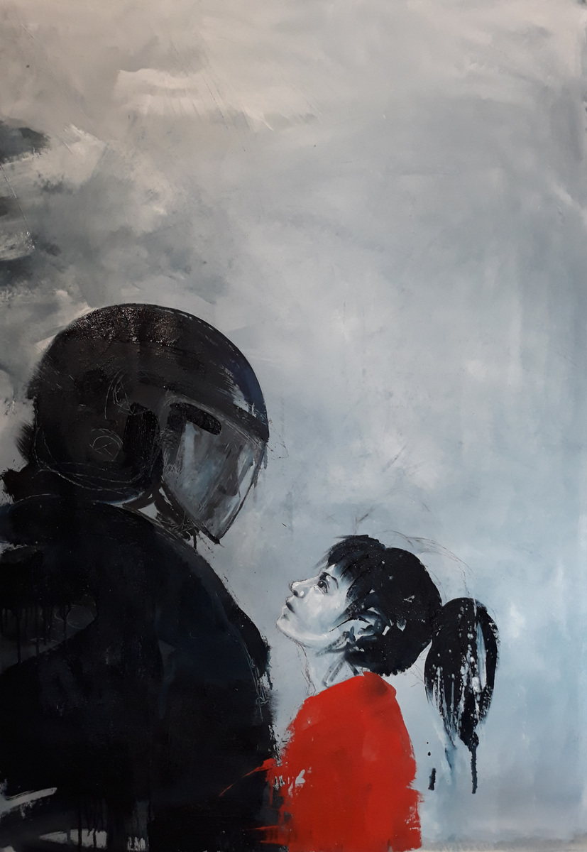 Martina Dalla Stella - No fear, olio su tela, 170x120 cm, 2020