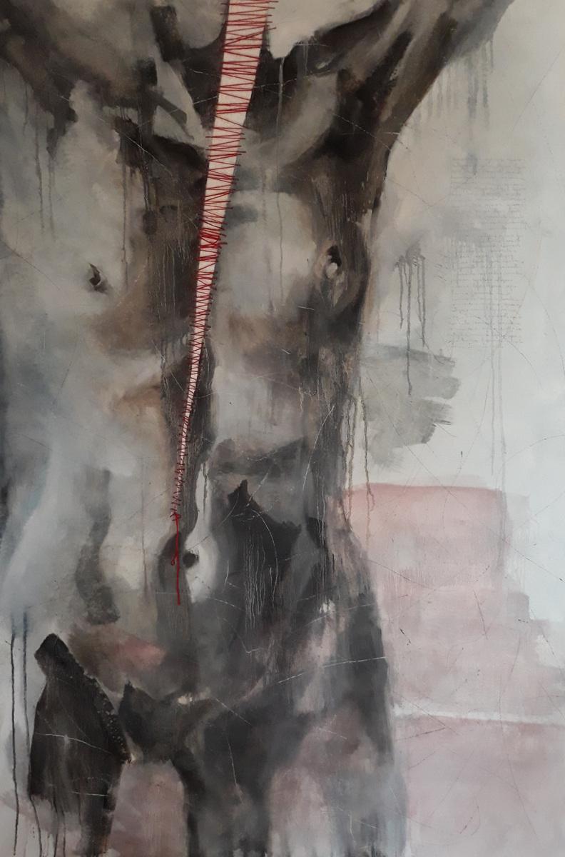 Martina Dalla Stella - Rammendi, olio su tela, 165x130 cm, 2020