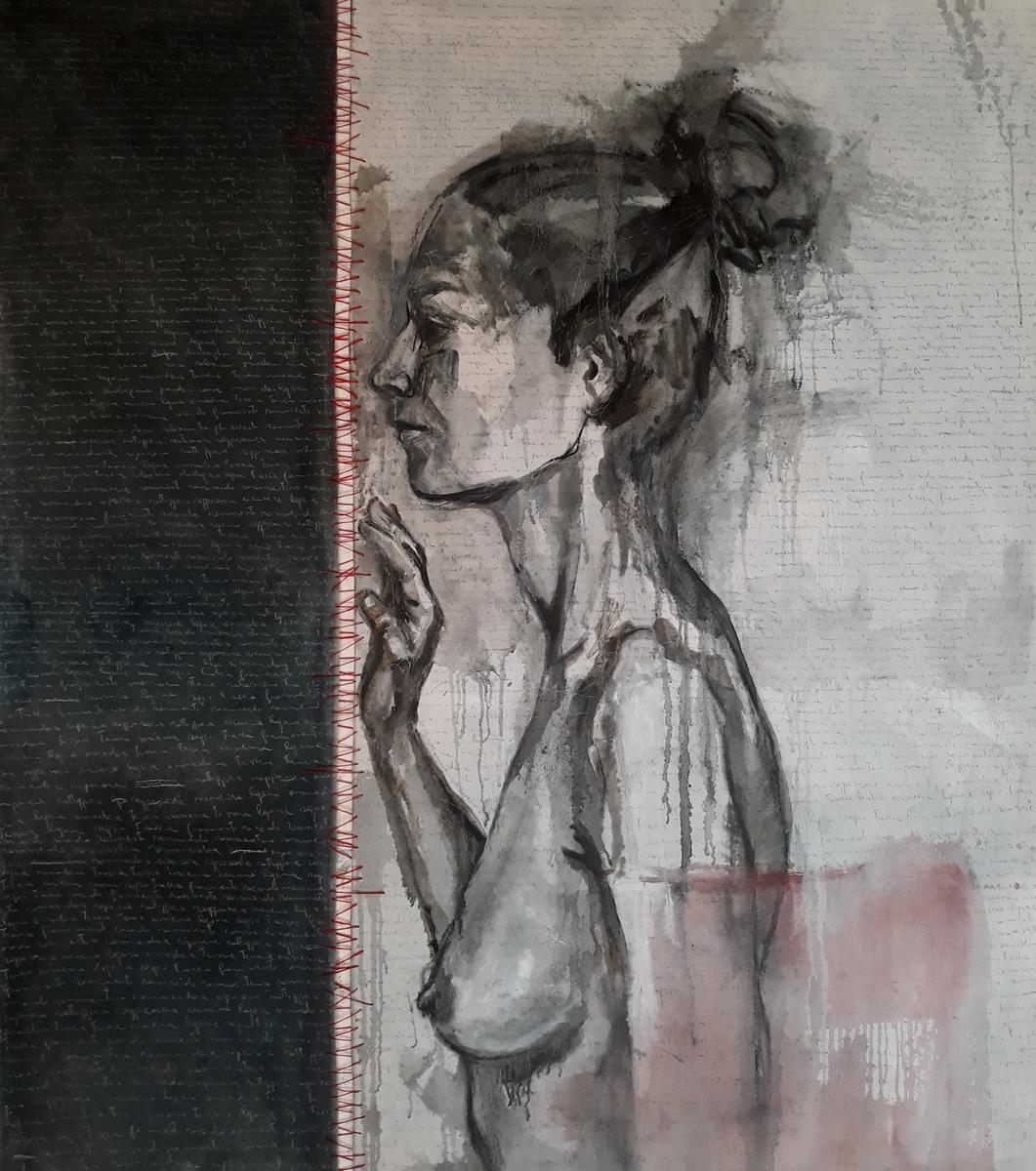 Martina Dalla Stella - Rammendi, olio su tela, 165x165 cm, 2020