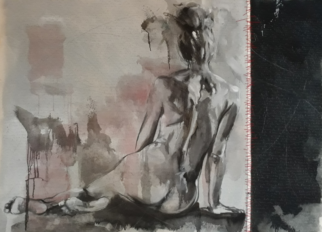 Martina Dalla Stella - Larte rammenda lanima. olio su tela, 120x170 cm, 2020