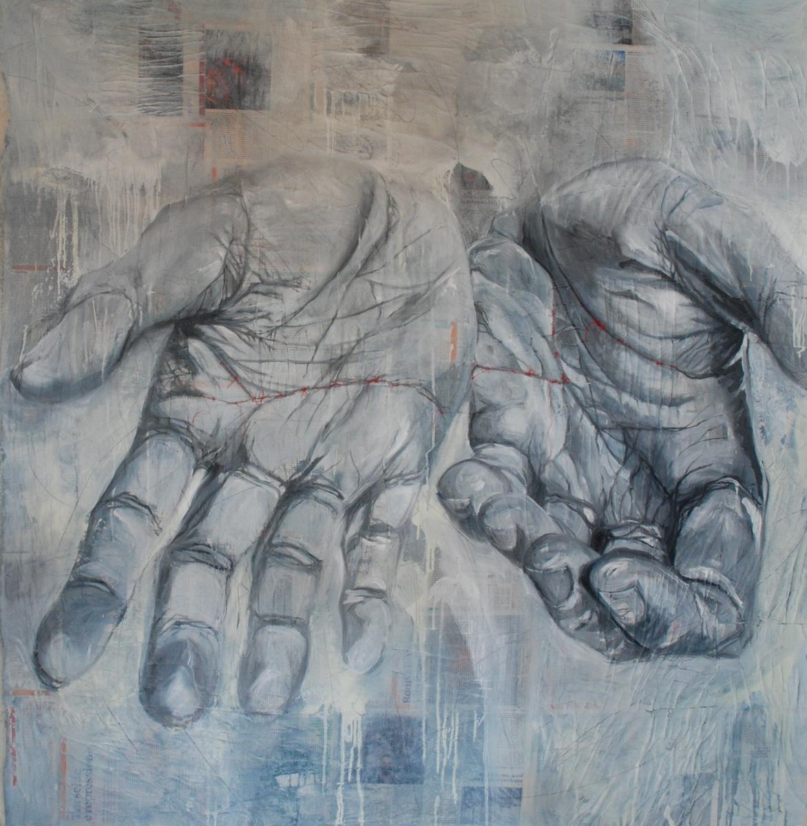 Martina Dalla Stella - Rammendi, tecnica mista su tela, 155x150 cm, 2021