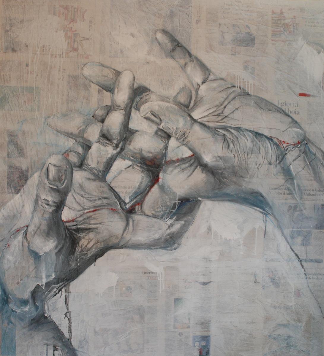 Martina Dalla Stella - Rammendi, tecnica mista su carta su tela, 170x150 cm, 2021