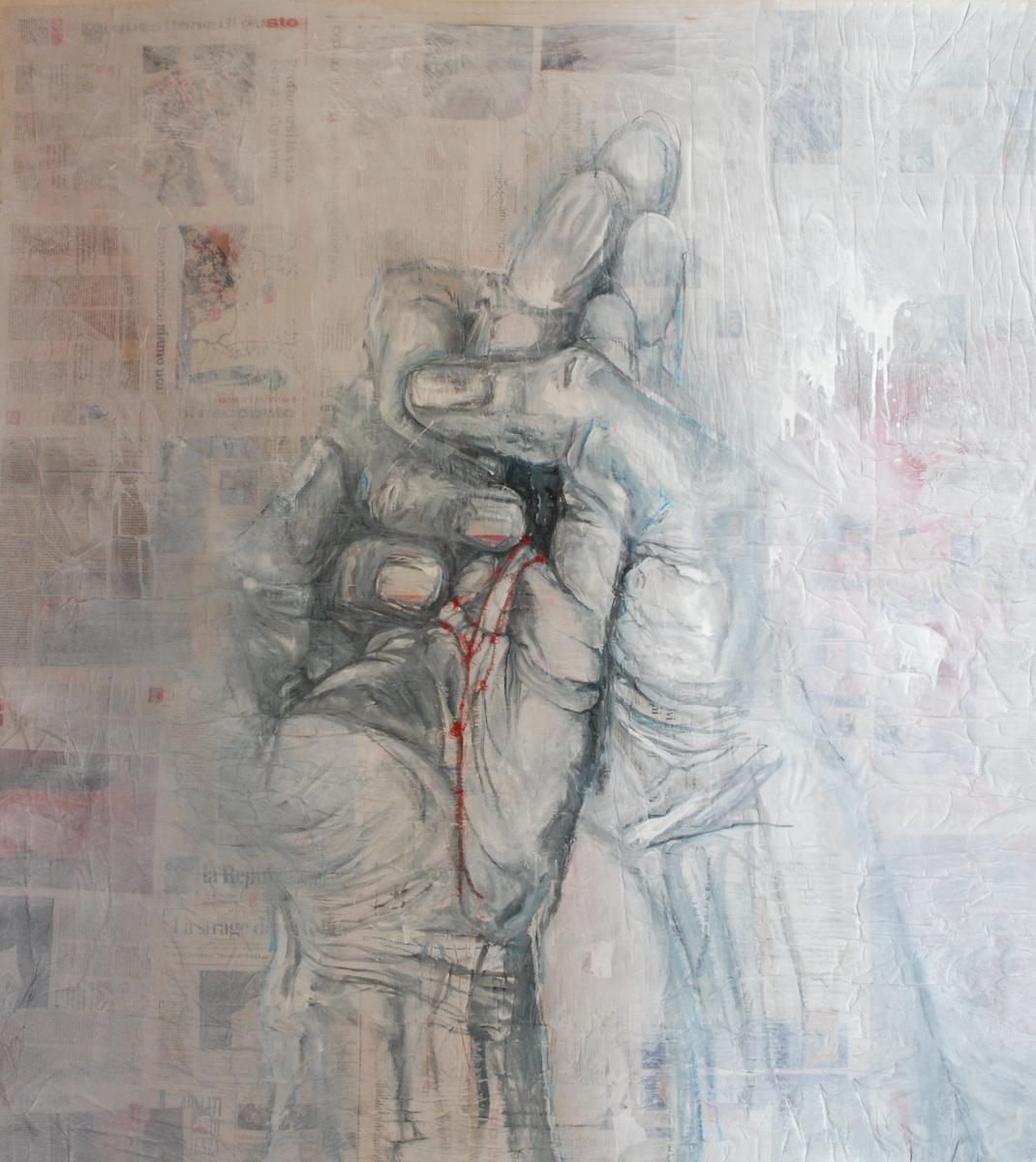 Martina Dalla Stella - Rammendi, tecnica mista su carta su tela, 155x150 cm, 2021