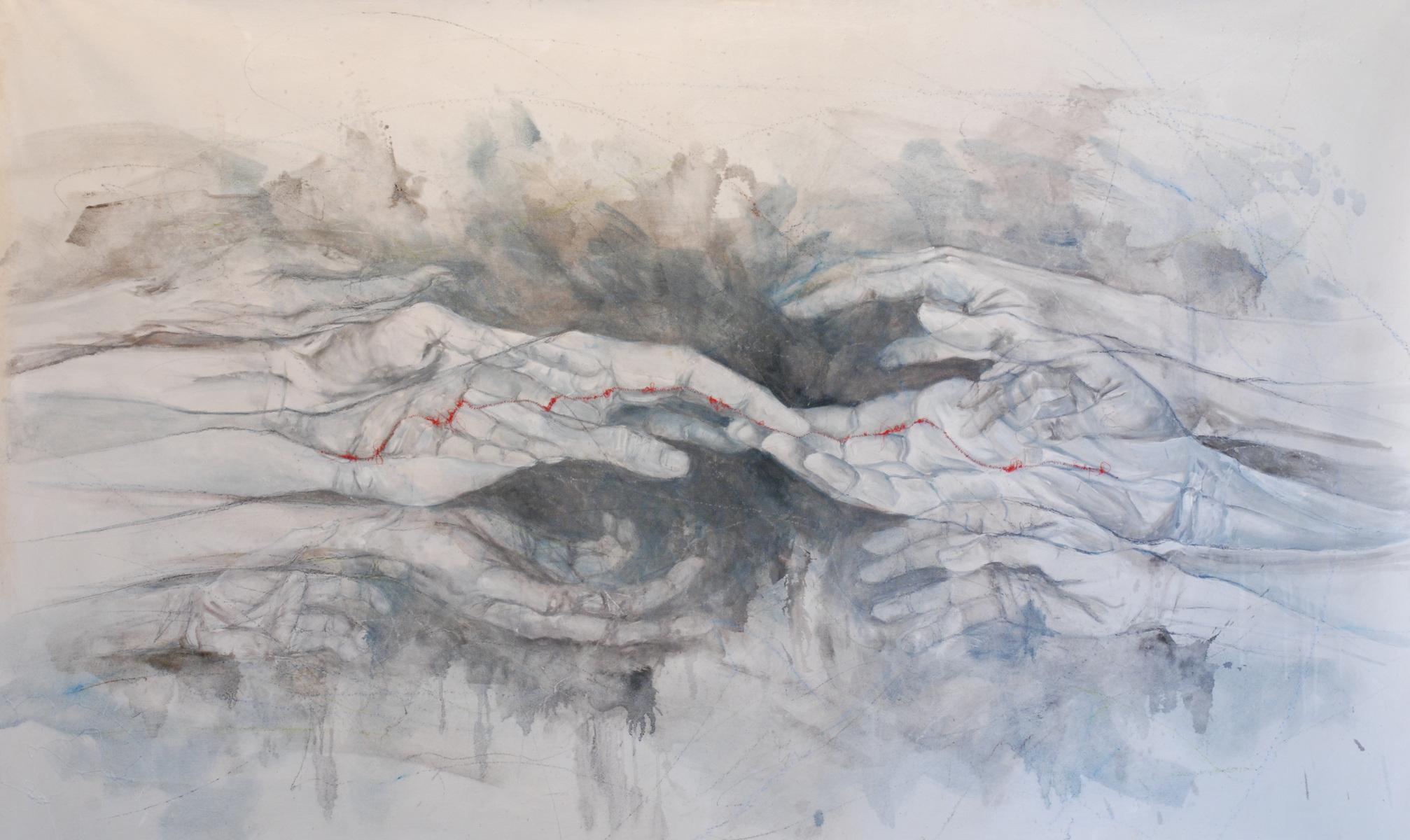Martina Dalla Stella - Rammendi, olio su tela, 106x170 cm, 2021
