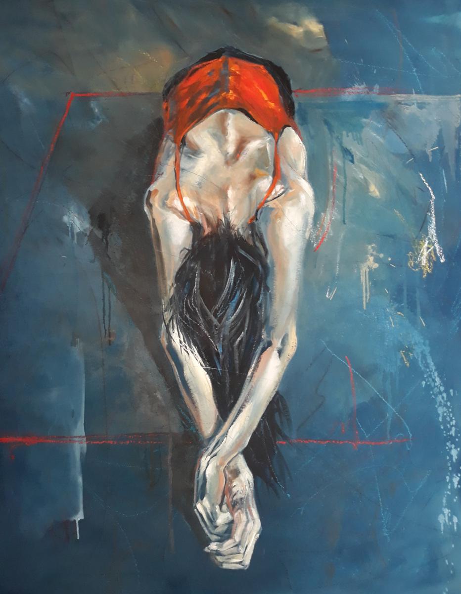Martina Dalla Stella - Raccoglimento, tecnica mista su tela, 165x125, 2021
