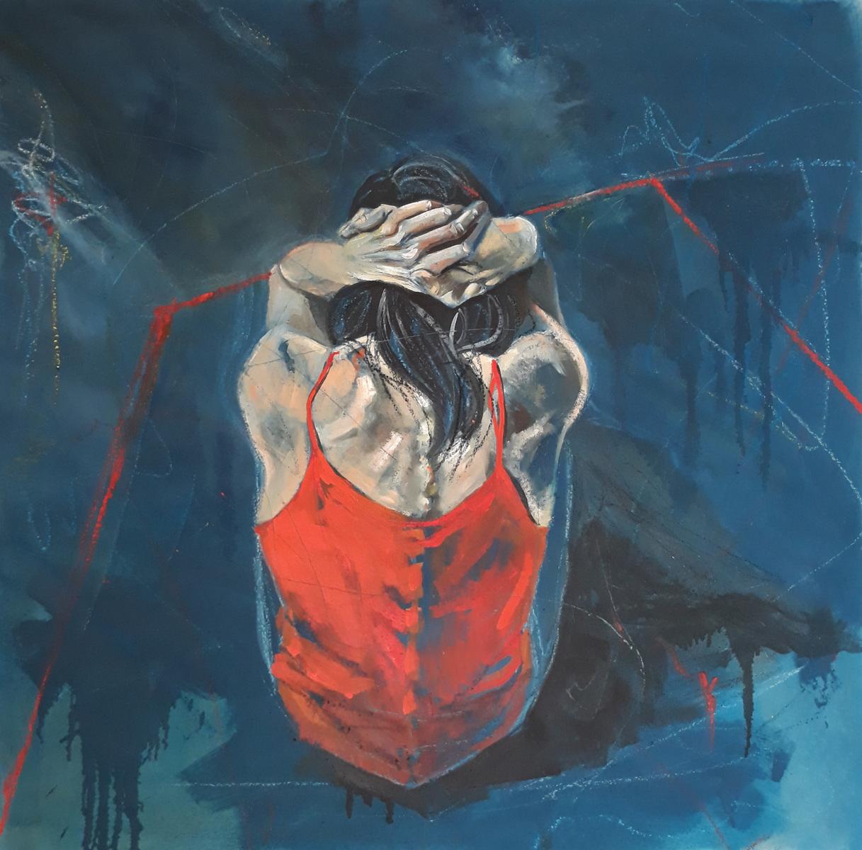 Martina Dalla Stella - Raccoglimento, olio e pastelli su tela, 120x120 cm, 2021