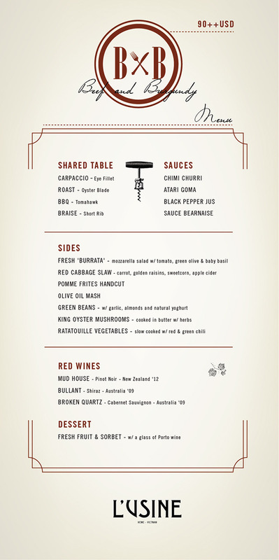 Cam-Anh Luong - Beef & Burgundy Menu, 2014