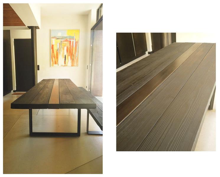ENTRE AXES ARCHITECTURE - Table Métal et bois brulé