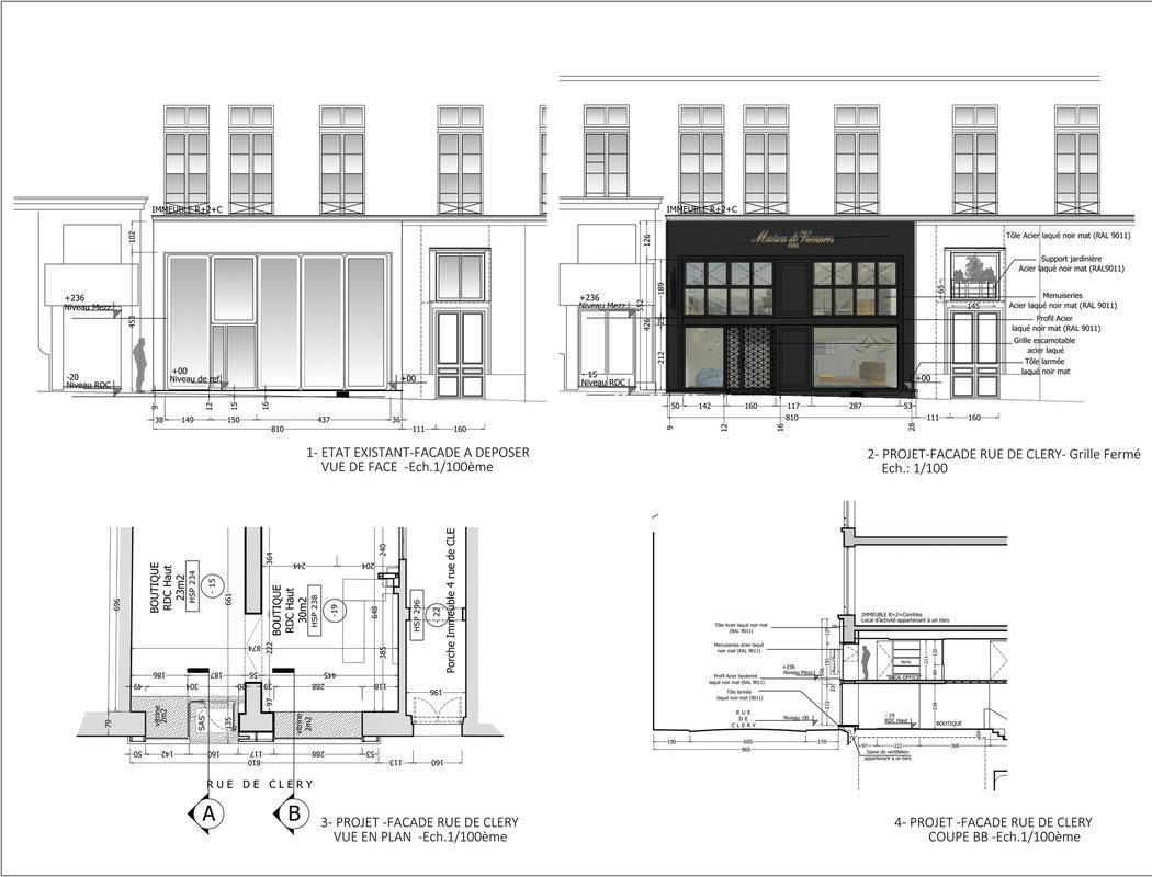 ENTRE AXES ARCHITECTURE - FACADE RUE DE CLERY Phase projet: Etat avant et après travaux