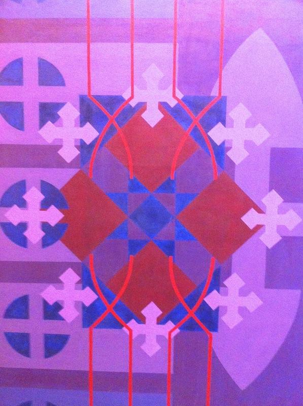 Cristan van Emden - zt, acryl op katoen  125 x 90, 1997