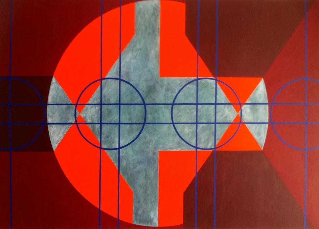 Cristan van Emden - zt, acryl op katoen 90 x 130, 1998