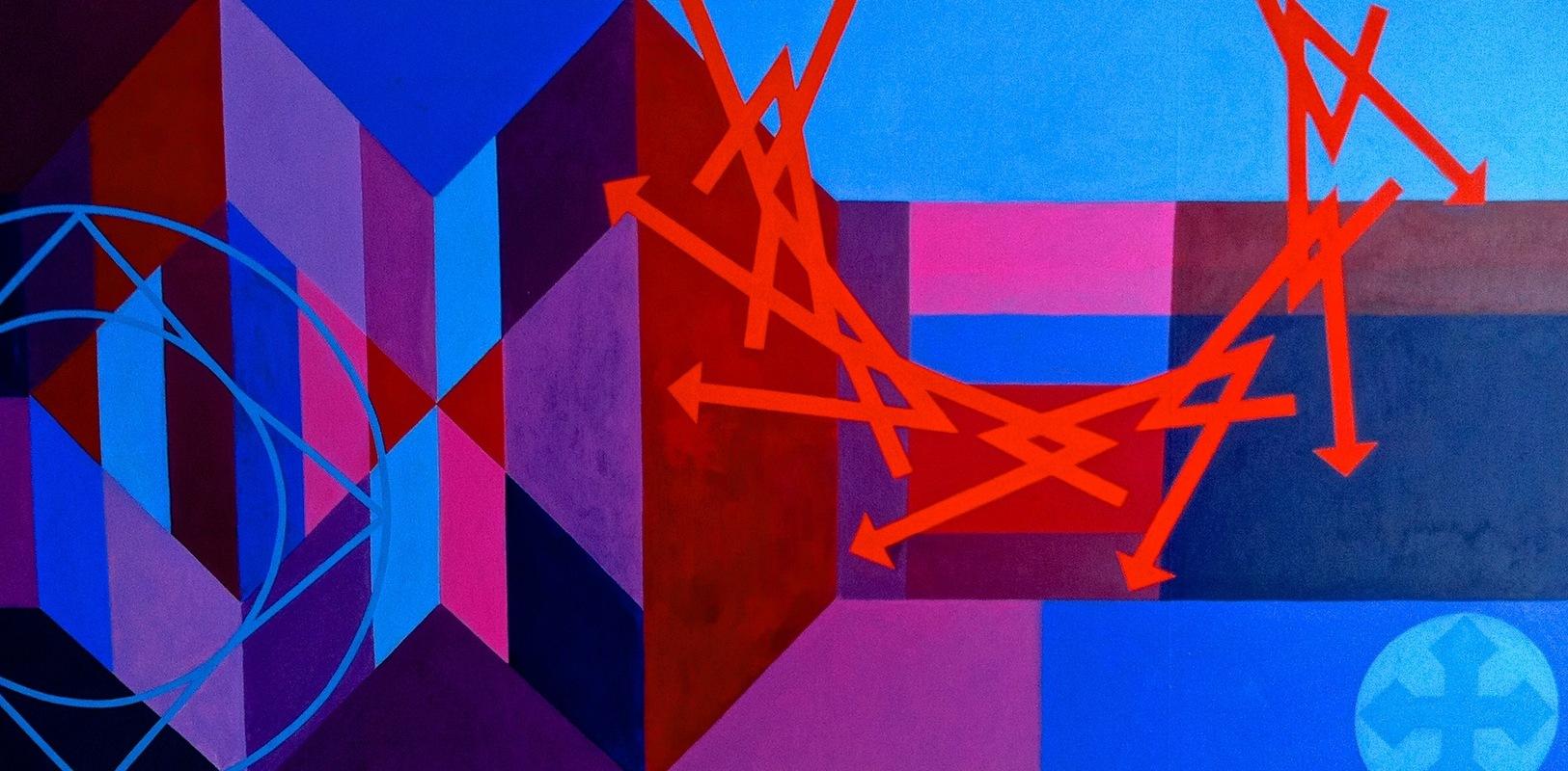 Cristan van Emden - zt, acryl op katoen 55 x 125, 2001