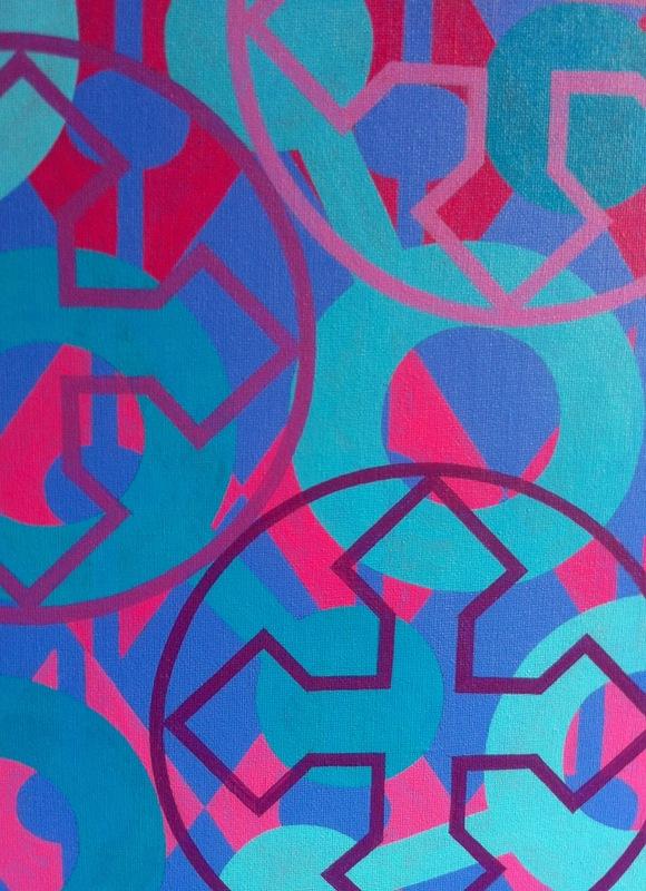Cristan van Emden - compositie l&v, acryl op katoen 30 x 24, 2013