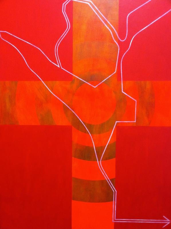 Cristan van Emden - zt, acryl op katoen 120 x 90, 1995