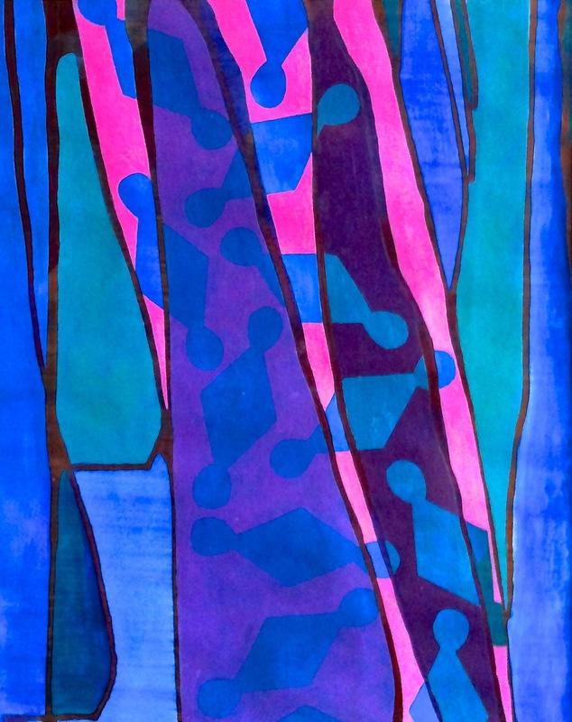 Cristan van Emden - compositie m&d,acryl op papier, 34 x 27, 2014