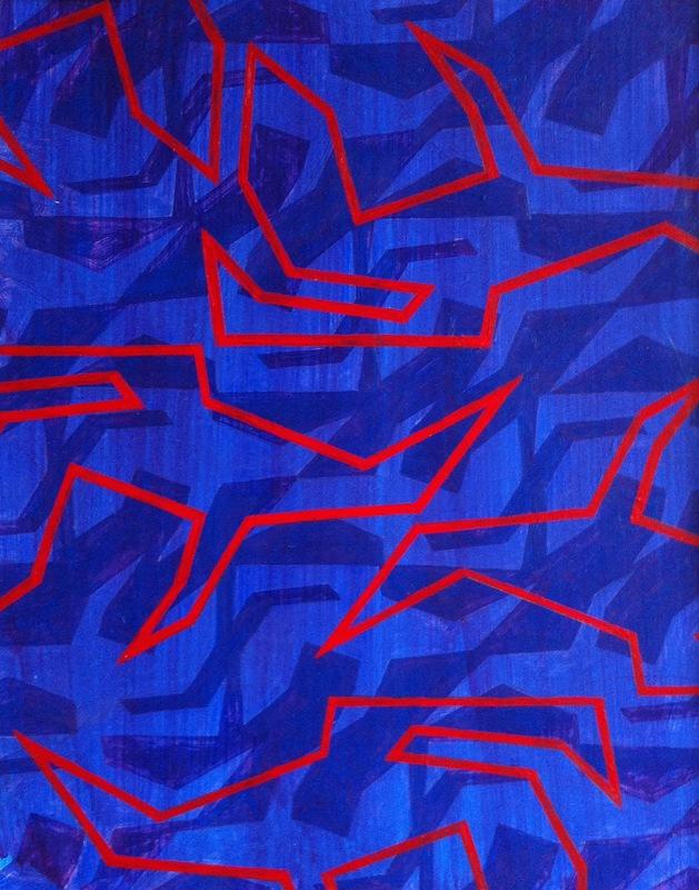 Cristan van Emden - salamanders 2, acryl op papier 34 x 27, 2015