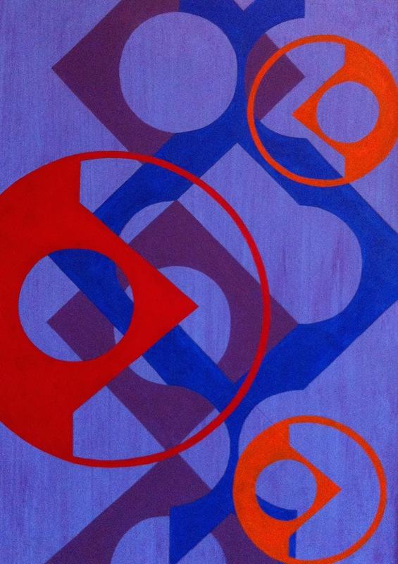 Cristan van Emden - compositie p&c, acryl op papier 36 x 26, 2015