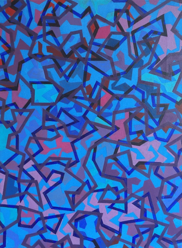Cristan van Emden - kikkers 4acryl op katoen 40 x 30, 2016