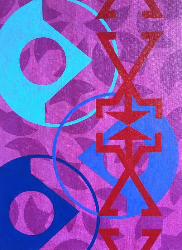 Cristan van Emden - compositie s,p&o, acryl op katoen 40 x 30, 2017