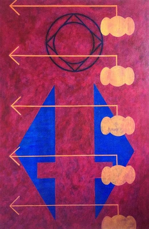 Cristan van Emden - compositie geen titel acryl op katoen 90 x 60, 1995