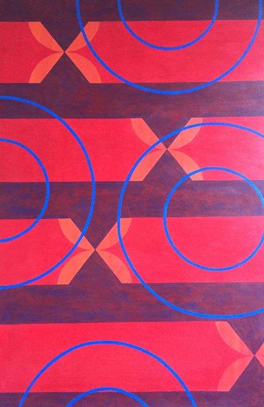 Cristan van Emden - compositie geen titel acryl op katoen 90 x 60, 2002