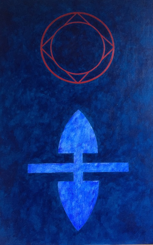 Cristan van Emden - compositie b&hh (Heilig hart) acryl op katoen 90 x 60, 1995