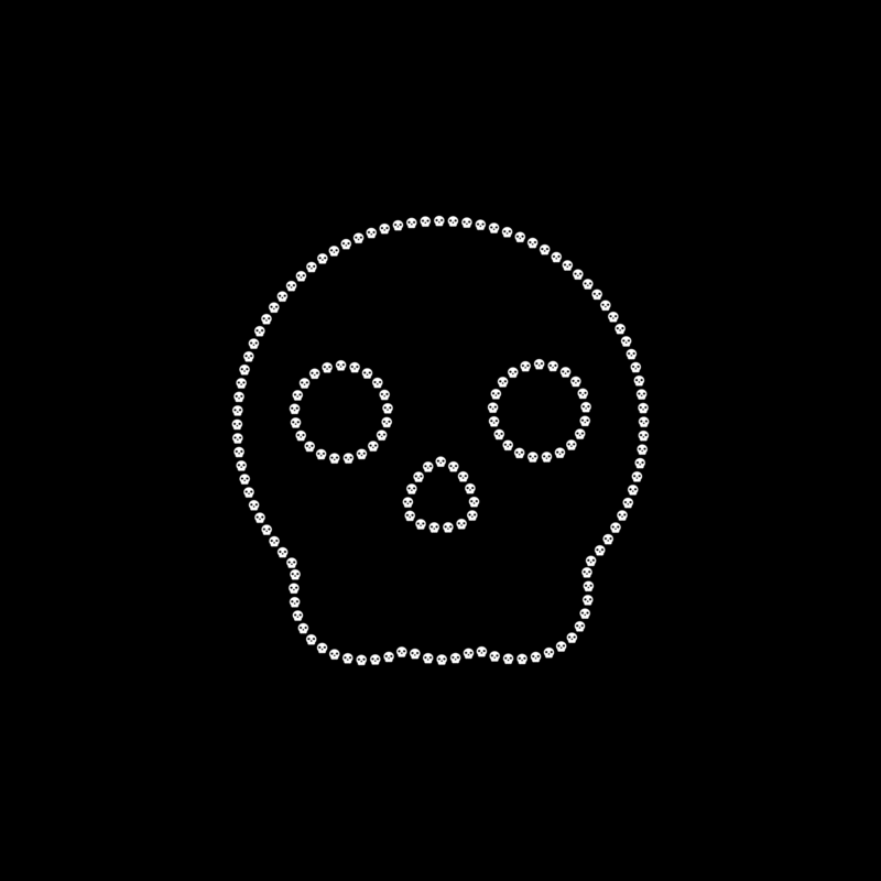 not so popular portfolio - white outline skull