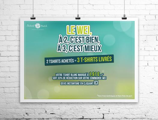 Sandra Le Garrec - Graphic Designer - Affiche Le WEI, à 2 cest bien, à 3 cest mieux - Fond coloré