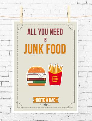 Sandra Le Garrec - Graphic Designer - Affiche Pour réussir votre Bac, ... All you need is junk food