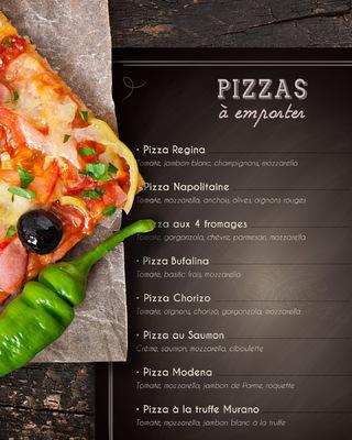 Sandra Le Garrec - Graphic Designer - Carte des pizzas à emporter du Murano