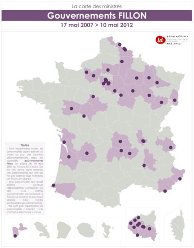 Géographismes - Origine géographique des ministres du gouvernement Fillon.