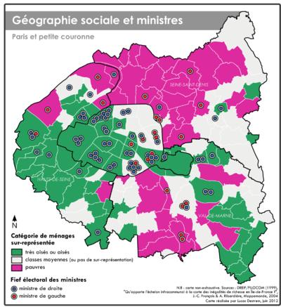Géographismes - Géographie sociale et ancrage électoral des ministres franciliens.